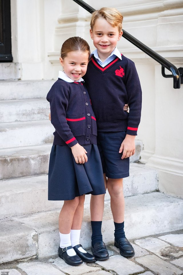 Prince George and Princess Charlotte at Kensington Palace shortly before they left for Thomas's Battersea for her first day at the school in September 2019