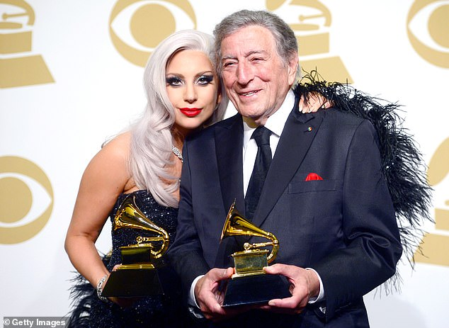Coming up:Tony and Gaga have been working on a new album, which is the followup to their 2014 smash hit Cheek to Cheek, and is set for release later this year. Pictured in 2015