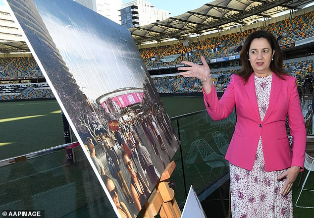 Ms Palaszczuk almost derailed Queensland's Olympic bid though when she announced a $1billion plan to rejuvenate the Gabba that she had not discussed with the federal government. She is pictured during that announcement in April