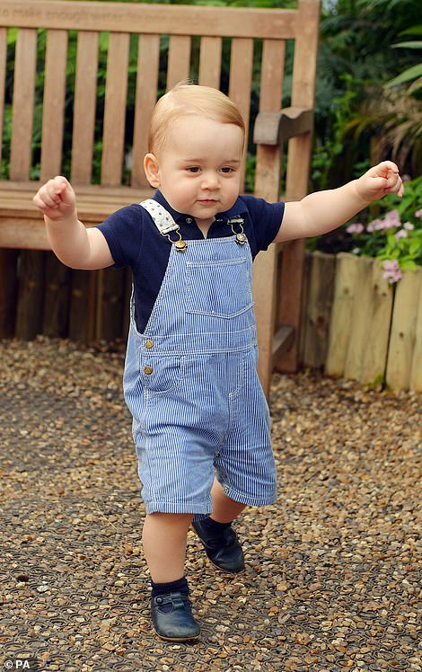 AGED 1:Prince George photographed walking about in official pictures released back in 2014 to mark the young royal's first birthday