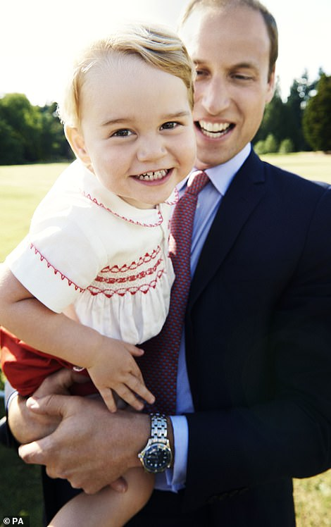 AGED 2: Snapshot taken in the gardens at Sandringham House as part of the series of official photographs taken by Mario Testino following Princess Charlotte's baptism of Princess Charlotte