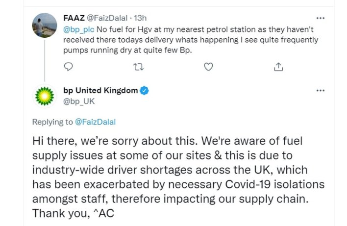 Today a lorry driver complained about 'pumps running dry' at BP petrol stations - as the oil giant apologised and said the issue was due to a shortage of drivers