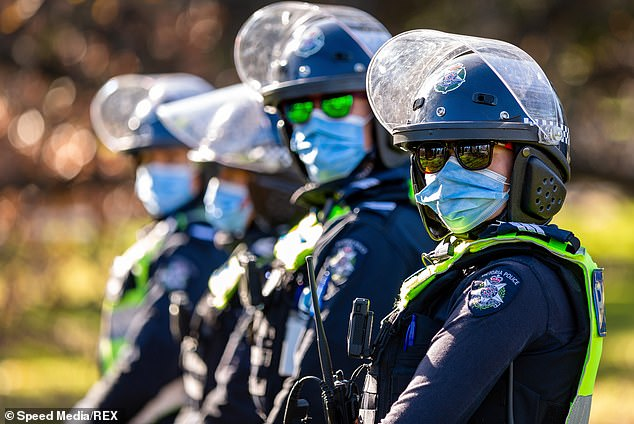 Victoria Police stood guard outside Melbourne's Shrine of Remembrance last year as anti-mask protesters pledged to hold a demonstration