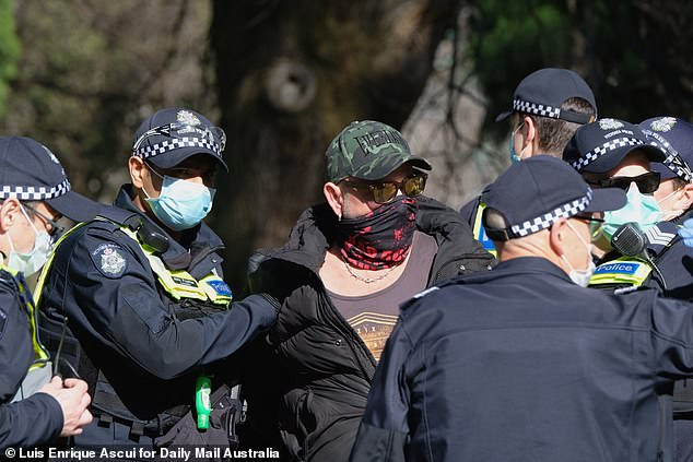 A man who came to the planned protest was quickly arrested by waiting police