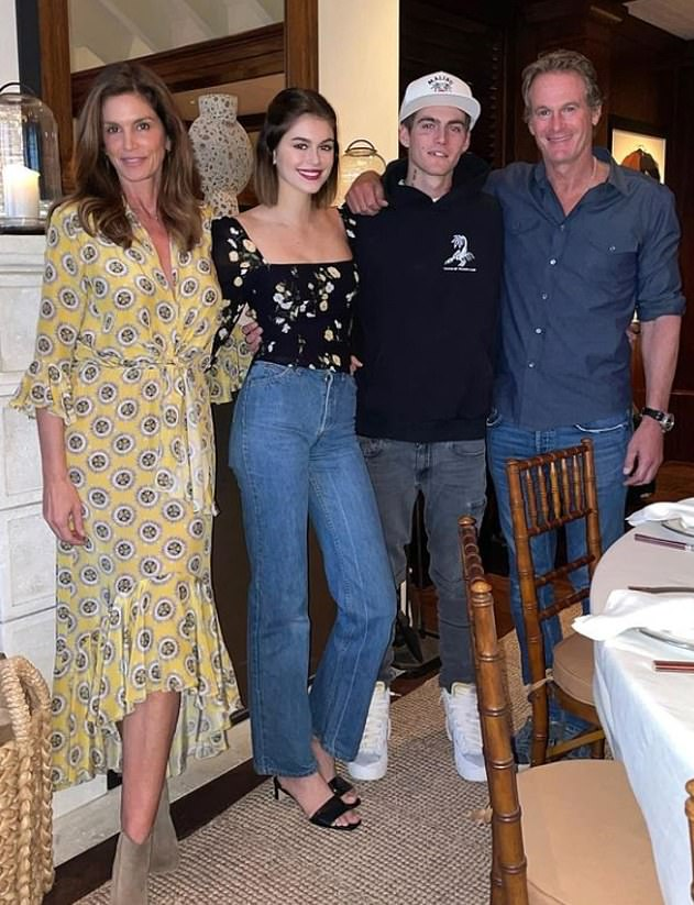 Family: Missing from their outing was Cindy's model-turned-entrepreneur husband Rande Gerber, 59, and her lookalike model daughter Kaia Geber, 19