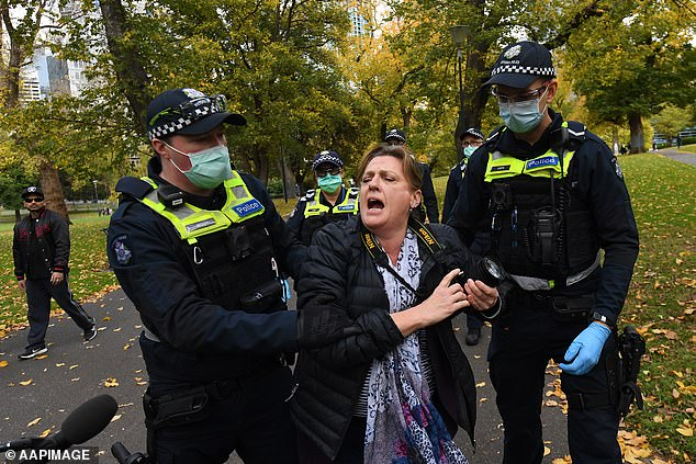 Victoria Police detain protester in Melbourne's Flagstaff Gardens in May