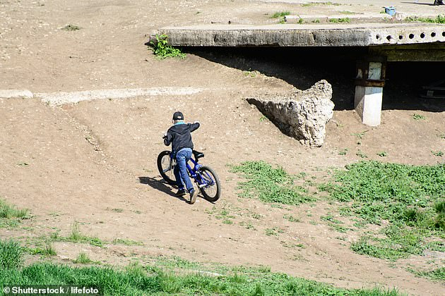 Parents said the council only listened to a vocal minority and the bike jumps encouraged children to interact and play outside (file image cyclist pictured)