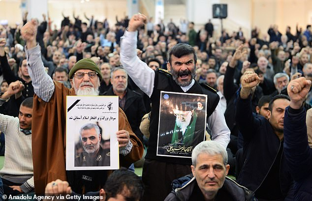 In January 2020, pro-regime activists can be seen in Tehran protesting the assassination of Qasem Soleimani, commander of Iran's Revolutionary Guard Corps, Qasem Soleimani by a US airstrike in the Iraqi capital Baghdad.