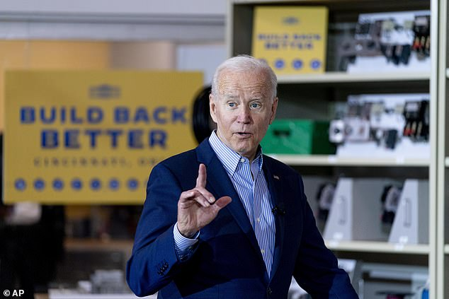 The Biden administration is considering urging vaccinated Americans to start wearing face masks again as the highly contagious Delta variant spreads across the US, according to a report. Biden pictured Wednesdayat the IBEW / NECA Electrical Training Center in Cincinnati