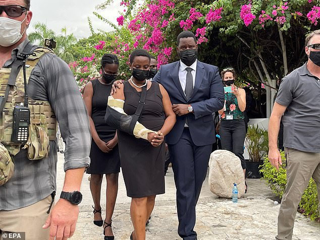Martine Moïse, 47, appeared in public with her three children for the first time since her surprise return to Haiti on Saturday