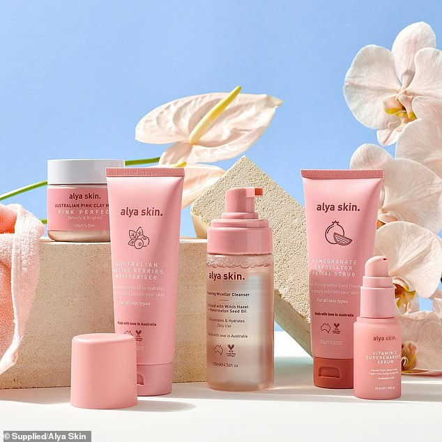 The 29-year-old bought the brand's Ultimate Skin bundle, which includes the popular pink clay mask, a pomegranate facial scrub exfoliator, Australian native berry moisturizer and a pink bamboo towel.