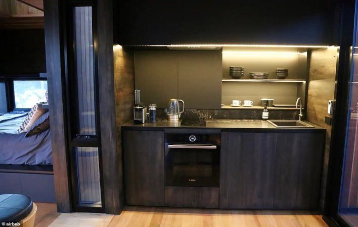 The house has a kitchenette (pictured) equipped with the latest appliances but you have to be prepared to go off grid as it has no wifi