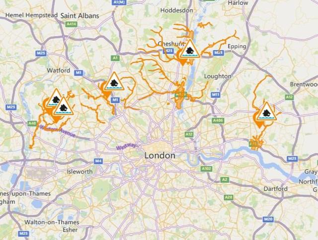 As of 6am, the Environment Agency put out five flood warnings - all of them in Greater London