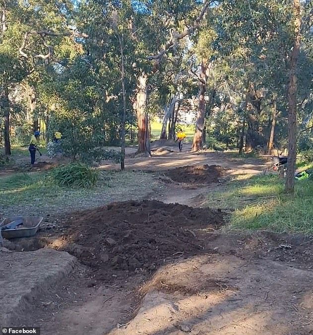 A local council caught municipal workers vandalizing the bike in Miranda Park on Thursday morning (pictured)