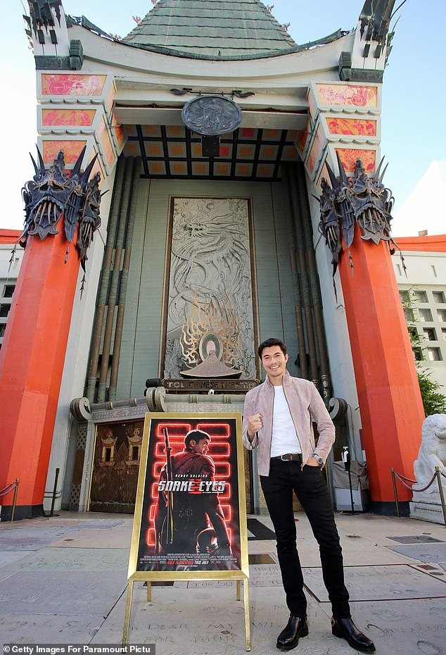 Place to be: At the Comic-Con Fans First event, Henry stood before the photographers in front of the TCL Chinese Theater's memorably expanded entrance
