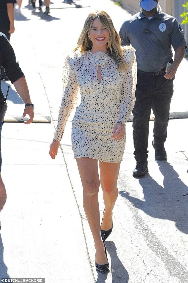 All smiles: The actress was all smiles as she left the studio