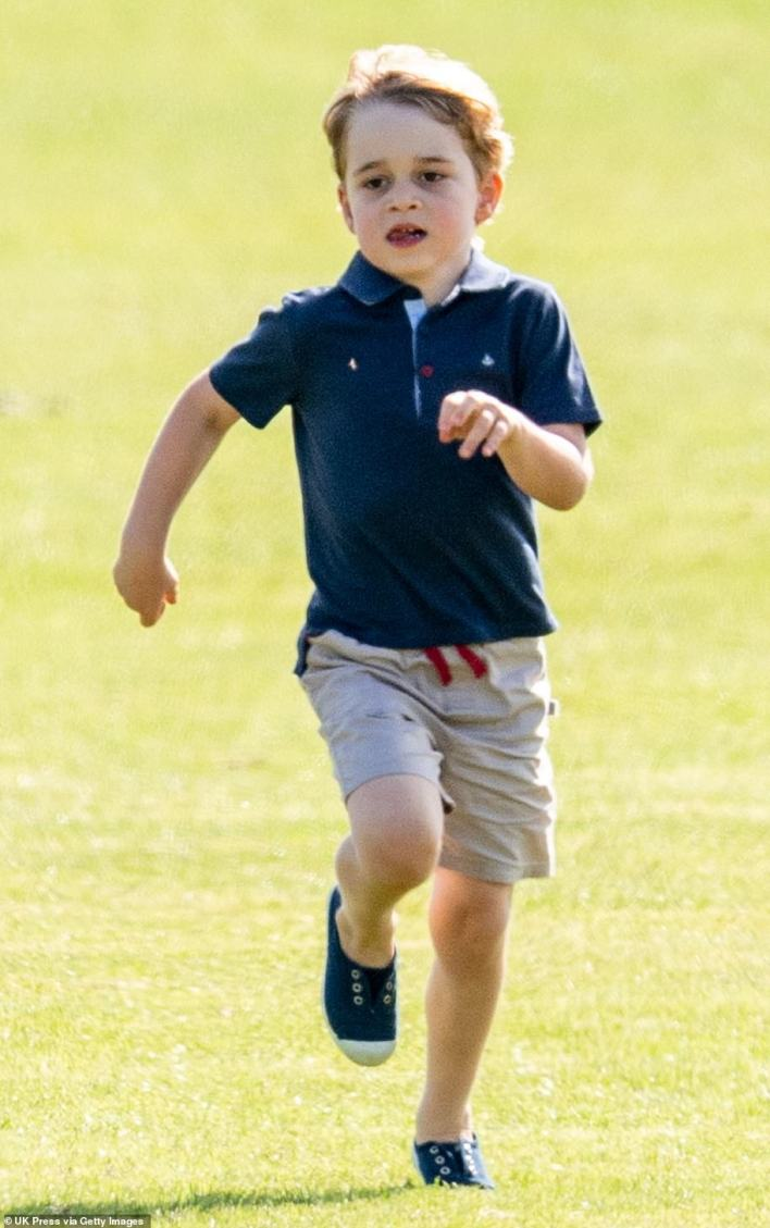 Run, George, run! As an active young boy, the prince is often photographed playing around and running just like he did at theMaserati Royal Charity Polo Trophy at Beaufort Park on June 10, 2018 (pictured)