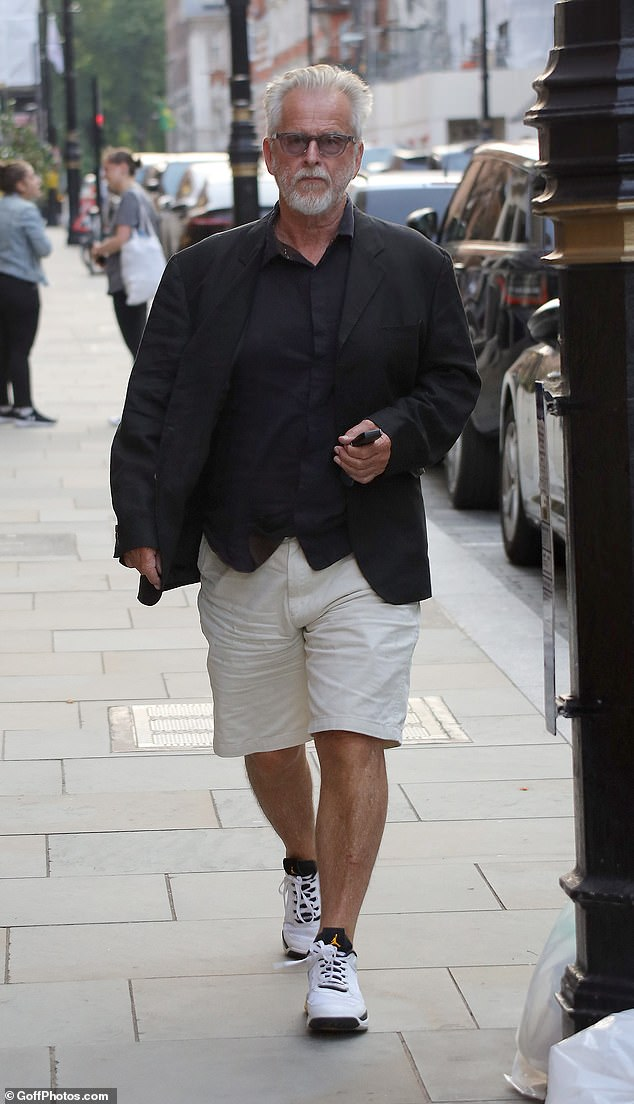 Out and about: Walking Dead actor Trevor Eve, 70, was spotted on his way to the popular restaurant in the evening