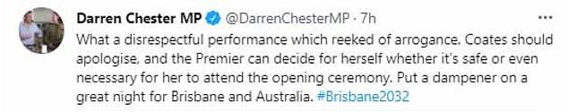 De onafhankelijke Australische senator Rex Patrick kreeg het gezelschap van andere wetgevers op sociale media door de heer Coates op te roepen voor zijn openbare opmerkingen aan de premier van Queensland, Annastacia Palaszczuk, op donderdag, waarbij velen hem een 'dinosaurus' en 'respectloos' noemden.