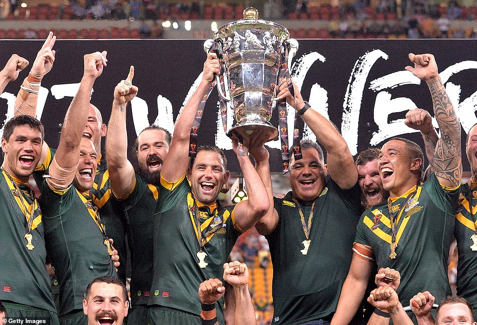 Reigning champions Australia (pictured) and New Zealandhave withdrawn from this autmun's Rugby League World Cup in England over coronavirus fears