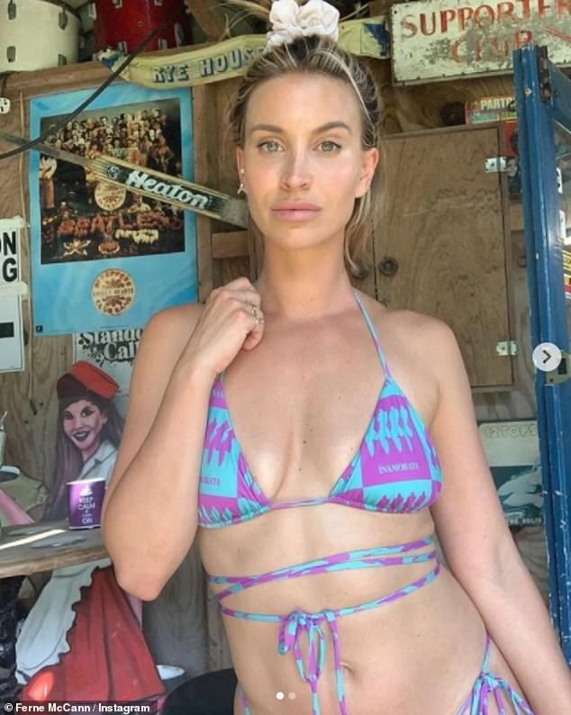 Hot girl summer: Ferne McCann looked better than ever as she posed in a low cut blue and purple bikini on Instagram on Wednesday