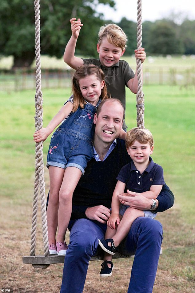 The royal expert said the model is 'unique' to the Duke, 39, and Duchess of Cambridge and helps the family maintain a level of privacy for their children (pictured, a portrait taken by Kate for Father's Day last year) )