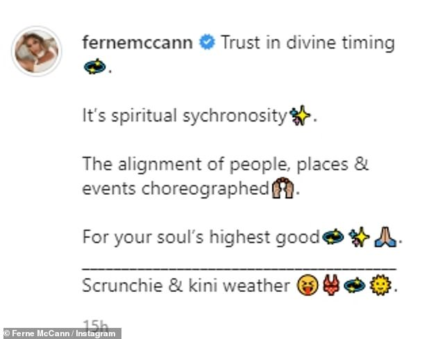 'Trust in divine timing': Alongside the swimwear pics, Ferne offered her followers some life advice, seemingly in reference to her new single status