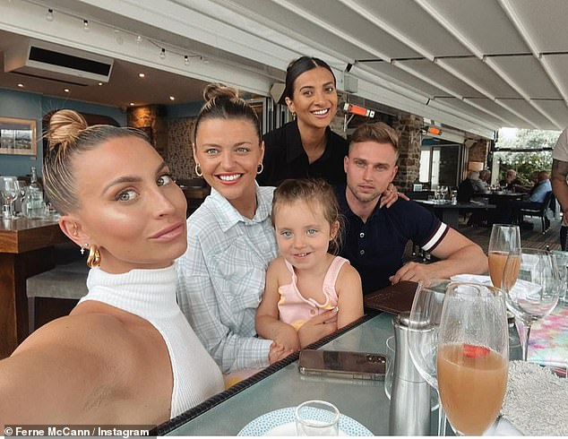 Newly-single: Post split, Ferne helped her heartache by going on a caravan holiday with her daughter Sunday, three, and her pals earlier this month