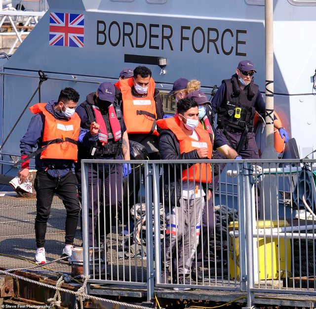 Ship-tracking website MarineTraffic appears to show a number of Border Force vessels approaching French waters so they can escort the small boats over to Dover Marina in Kent, where migrants including small children were seen disembarking before 10am this morning