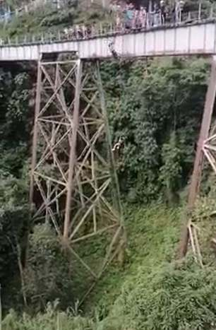 Yecenia Morales, 25, fell 150 feet from the viaduct in northern Colombia's Amaga on Sunday