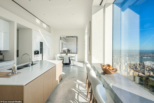 The penthouse offers several dining areas for residents to enjoy
