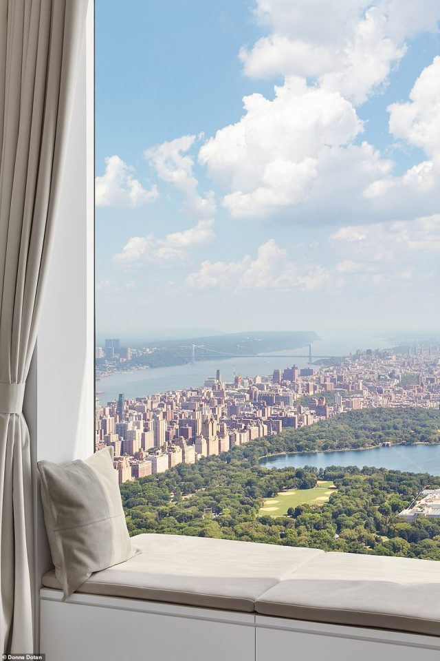 Sitting areas by the window allow for stunning views of Central Park