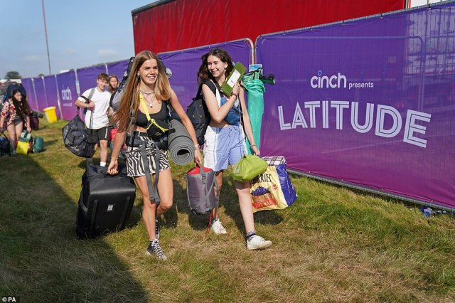 Revellers were full of smiles as they arrived at the festival site this morning, armed with camping equipment for the four-day event