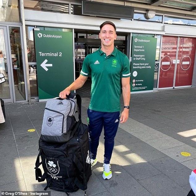 Op weg naar Japan: In het weekend uploadde Greg een foto van zichzelf buiten de luchthaven van Dublin terwijl hij zich voorbereidde om naar Tokio te vliegen voor de Olympische Spelen