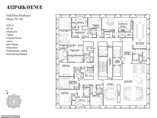 The blueprints demonstrate the set up for the top penthouses in 432 Park Ave.