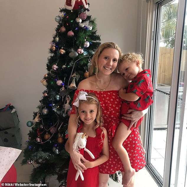 Pictured: Nikki Webster, 34, with her children Skylar, five, and Malachi, who is two