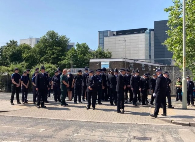 Police today formed a guard of honour as murdered PCSO Julia James was laid to rest during an emotional funeral service at Canterbury Cathedral today