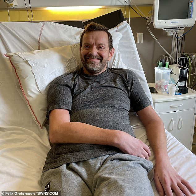 Nerves grow on average a millimetre each day and doctors estimate Gretarsson's will reach his elbow in a year, and his hands in two. Pictured: Gretarsson following the successful transplant