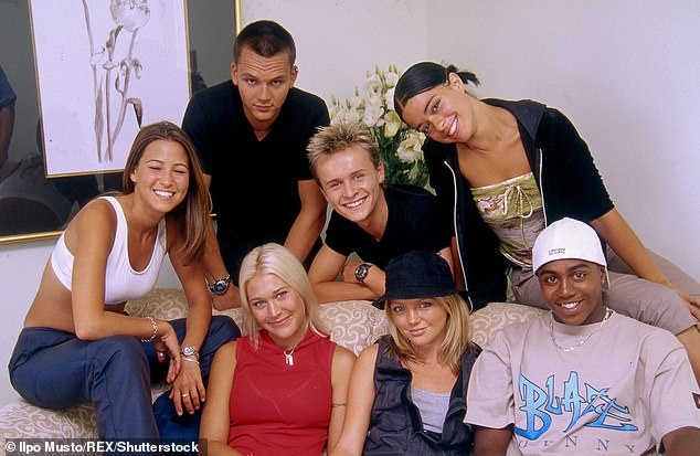 Paul rose to fame in S Club 7 alongside Tina Barrett, Rachel Stevens, Jo O'Meara, Hannah Spearritt, Bradley McIntosh and Jon Lee (pictured together in 1999)