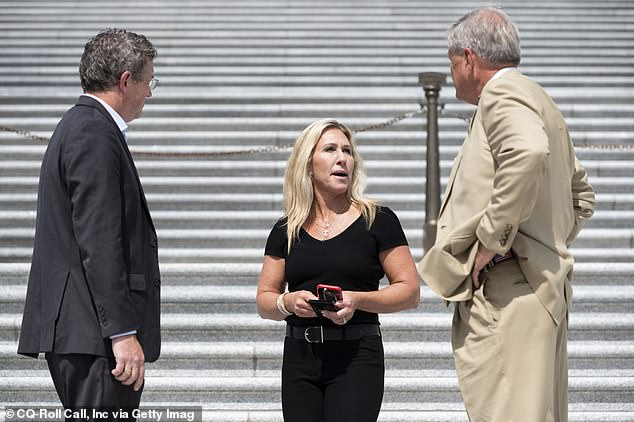 (From left) Reps. Thomas Massie, Marjorie Taylor Greene and Ralph Norman lost their appeals this week against Pelosi's $500 fine for their refusal to wear masks on the floor of the House chamber. They argued it went against CDC guidance that stated 'fully vaccinated people can resume activities without wearing a mask or physically distancing'