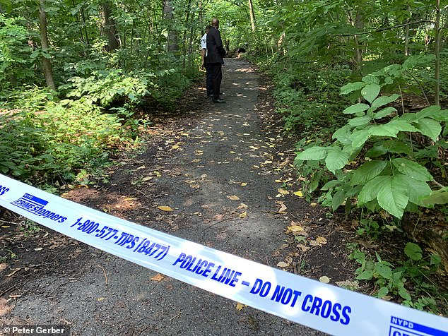 Pictured: The crime scene of Wednesday's attacks in Inwood Hill Park between 10:50 a.m. and noon