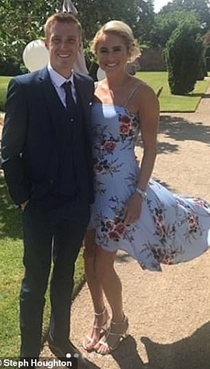 Manchester City and England captain Steph Houghton, 33, is an old hand to international competitions and previously represented Team GB in London 12 (pictured with her husband Stephen Darby