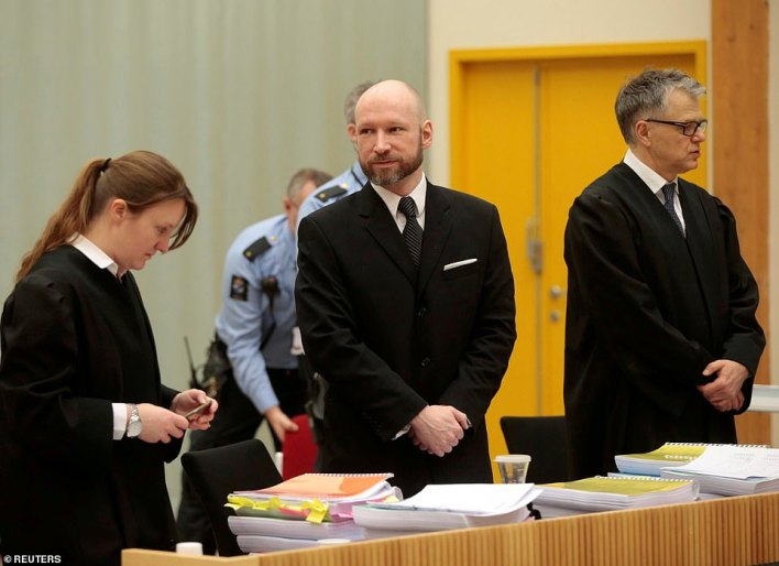 Anders Breivik (pictured in 2017) is being held in prison after killing eight people in a bomb attack in Oslo and shooting another 69