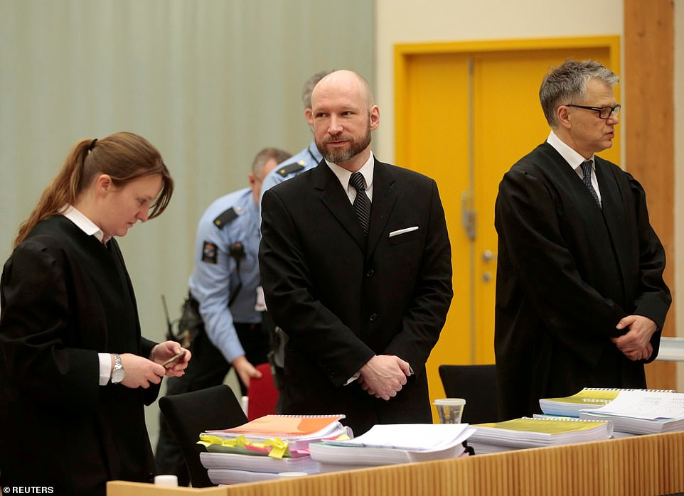 Anders Breivik (pictured in 2017) is being held in prison after killing eight people in a bomb attack in Oslo before gunning down 69 more
