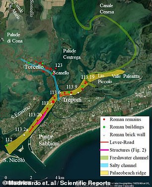 Sonar scans of the Treporti Channel revealed the remains of structures lined up as if along a road (as depicted red)