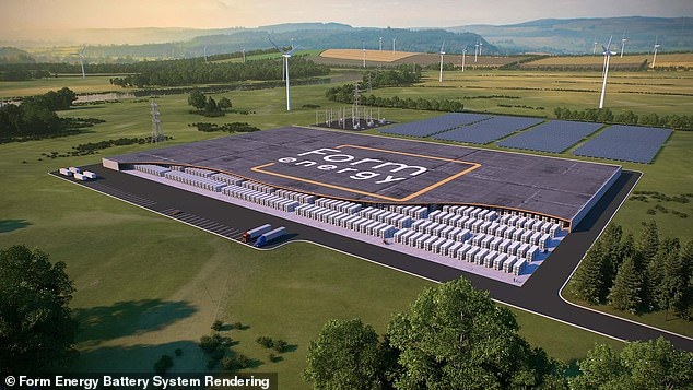 Form Energy plans to stack thousands of their 'iron-air' batteries together in massive warehouses, as seen in this view from the company
