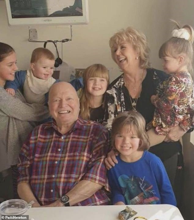 So sweet!  Bert and Patti Newton shared a sweet family photo with their grandchildren for his 83rd birthday on Friday