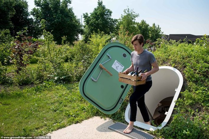 This unique underground refrigerator is made in the Netherlands with enough standing space for two people.  The indoor temperature is influenced by local factors such as soil type, groundwater levels, exposure to sunlight, hill vegetation and the average outdoor temperature
