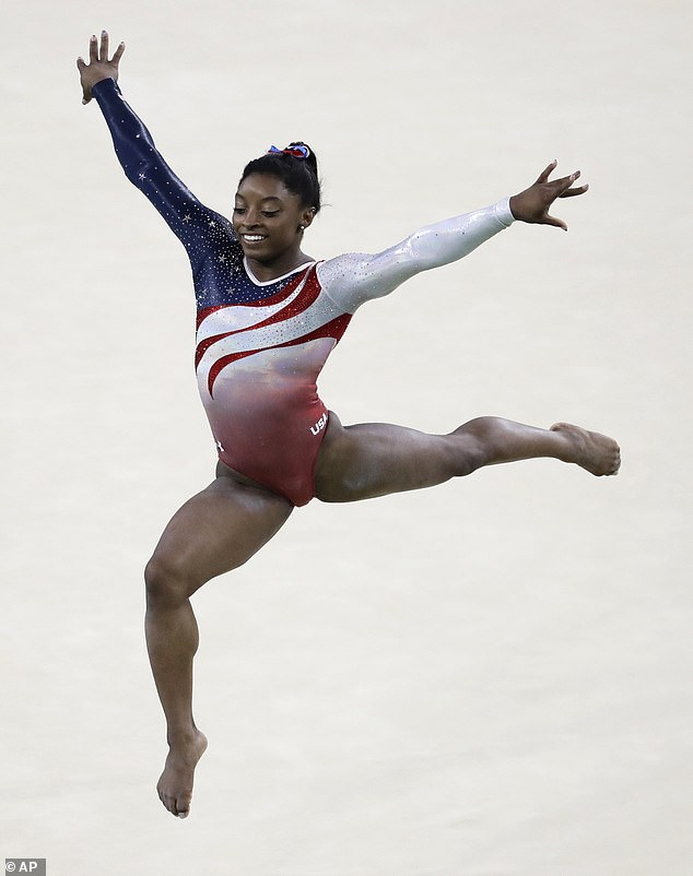 In 2016, Biles's leotard screamed Team USA with its red, white, and blue design