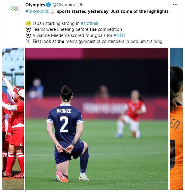On Thursday morning Tokyo time, an image of Team GB's Lucy Bronze grabbing the knee before the team's game against Chile in Japan was shared by the @Olympics twitter account (pictured) along with the message: 'Sports started yesterday.  Just some of the highlights: Japan starts strong in softball.  Teams knelt before the game'